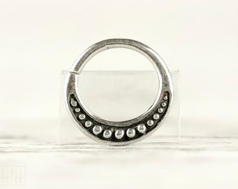 Septum Ring Nose Ring Moon Dots Body Jewelry Sterling Silver Bohemian Fashion Indian Style 14g 16g - SE026R SS T1