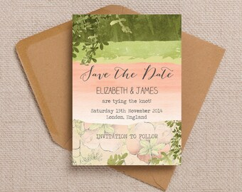 Green and Peach Blush Ombre Watercolour Meadow Garden Wedding Save the Date cards