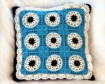 Bright Blue Squares And Circles Crochet Handmade Luxury Couch Cushion Cover