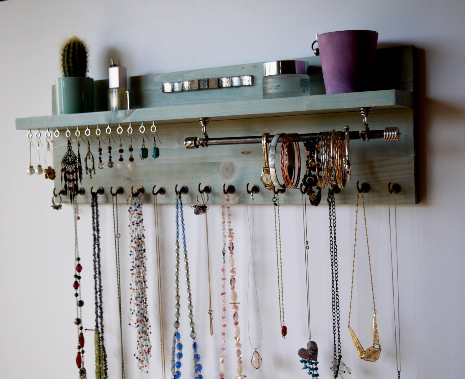 jewelry organizer with shelf earrings display wall mounted. Black Bedroom Furniture Sets. Home Design Ideas