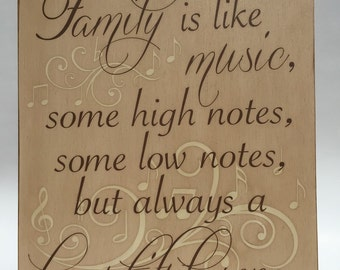Family Is Like Music Quote Wall Decor