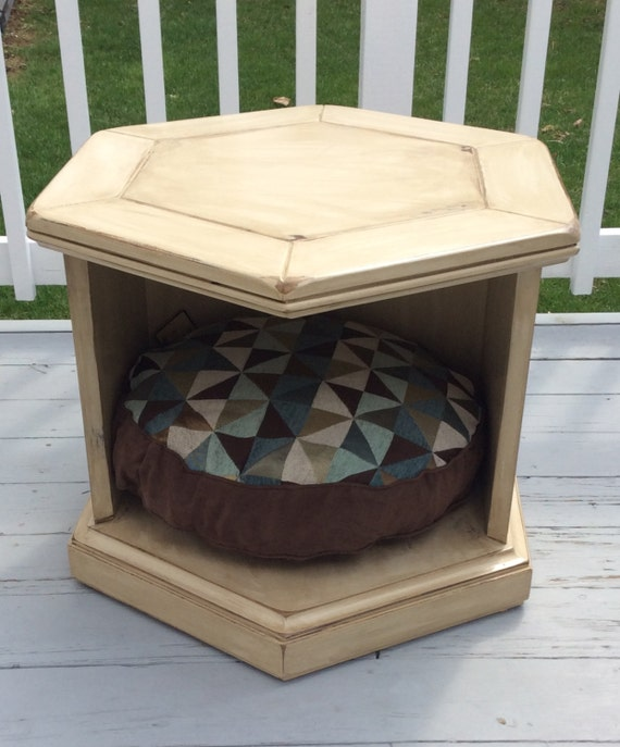 Price reduced hand painted end table dog bed pet bed for Dog bed table