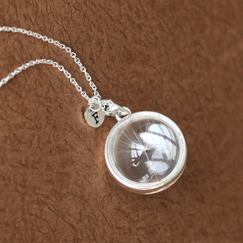 silver dandelion seed necklace make a wish glass bead orb