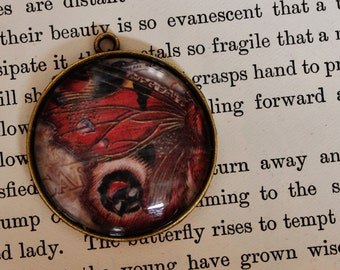 Butterfly picture Pendant, charm, necklace, steam punk,  victorian curiosity