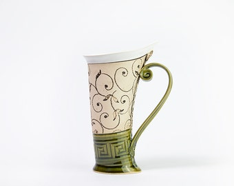 Ceramic Mug, Tea Mug,Handbuilding, Ceramics and pottery, Ceramic cup, Tea cup, Coffee cup, Coffee mug, Handmade mug, Unique mug, Green mug