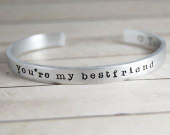 Silver bracelet, Personalized jewelry, Bracelet, bangle - jewelry hand made - Best friend, frienship bracelet, mother secret message