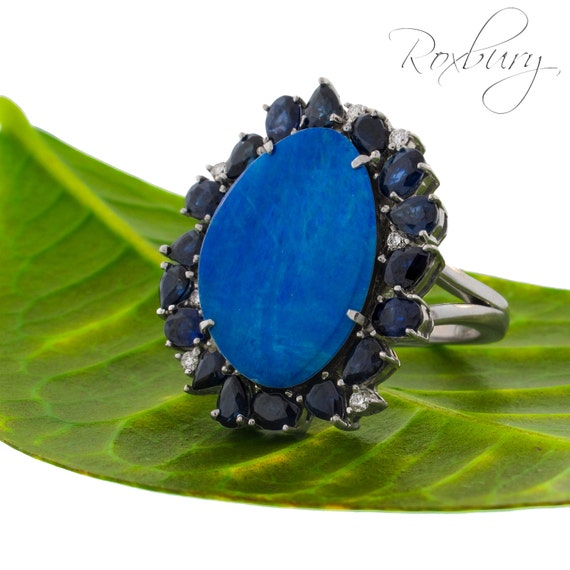 items similar to blue sapphire halo opal mood ring on 18k