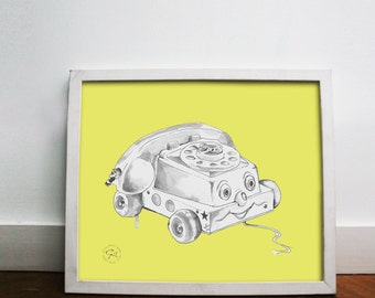 Vintage toy telephone print, vintage toy phone decor, retro phone print, retro phone art, vintage phone art,  8x10 11x14 print