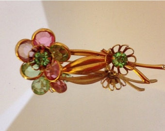 Vintage Goldtone Corocraft Style Brooch with Pink and Green Crystals, Spring, Easter