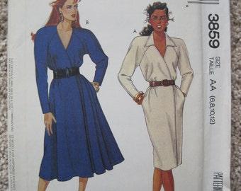 UNCUT Misses Dresses - Size 6 to 12 - McCalls Pattern 3859 - Vintage 1988