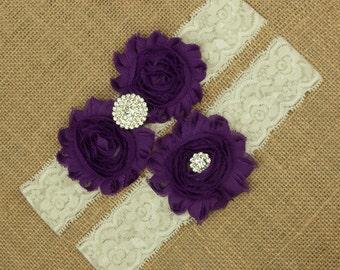 Wedding Garter Set, Flower Wedding Garter, Purple Garter, Purple Wedding Garter, Purple Bridal Garter, Garter Set Purple, Garter, SCIS-P02