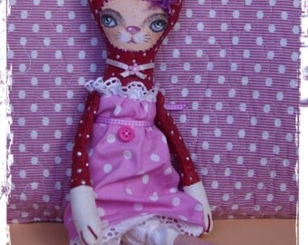 """Primitive art doll, red cat """"Kitty"""", artistic toy"""