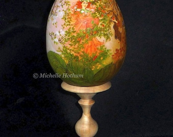 The Four Seasons. Hand-painted wooden egg.