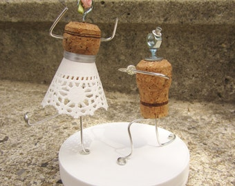 Champagne Cork Cake Topper - Kneeling Groom (Weddings, Engagement Parties, Bridal Showers, etc.)