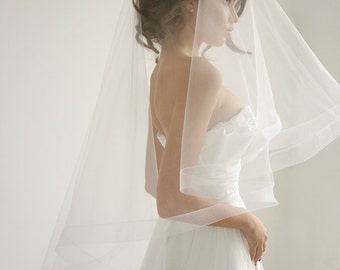 2 '' Horsehair ribbon wedding veil with blusher, drop veil, fingertip wedding veil, circle wedding veil, Anastacia - Style V04