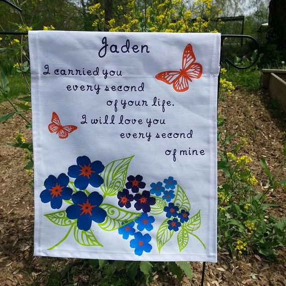 Forget Me Not Memorial Garden Flag by DixiesFamousHandmade