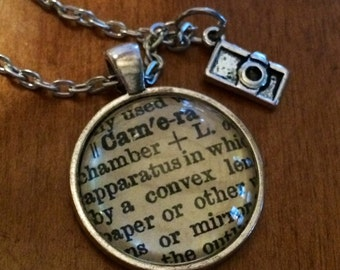 Word Pendant PHOTOGRAPHER or CAMERA Dictionary Necklace Made From Antique Dictionary Vintage Definition Image Unique Gift
