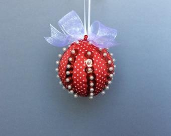 Red & White Polka Dot Ribbon Wrapped Christmas Ornament