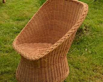 Handwoven Wicker Chair, Handmade Natural Willow Chair, Wicker Patio Furniture, Woven Willow Furniture