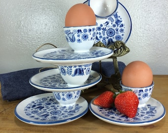 MITTELDORFER-STRAUSS PV Pottery - 5 High-Fire Glazed Blue & White Egg Cup/Saucers