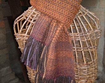 SALE: 10% OFF! Rust tweed scarf with Alpaca, handwoven in all wool on Dartmoor