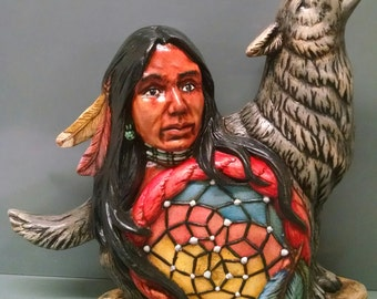 SALEWolf Dream Catcher--Native American Indian Figurine--Heirloom Quality--Hand-painted Ceramic--Home Decor--Native American Art