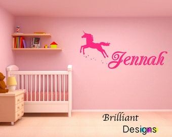 unicorn decal, personalized name decal, girls room wall decal, childs room decor , girls nursery vinyl decal, baby girl, shower gift, gift