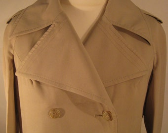 Vintage Beige / camel Alexon double breasted trench coat, amazing collars, deep pockets, fully lined, 1970's size 16