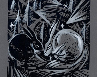 Coded Storm - Lino Printed Greeting Card - Winter Hares