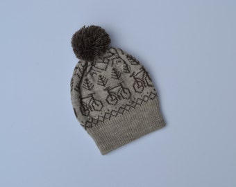 Wool Knit Hat with Bicycles, Pom Pom Hat, Warm Winter Hat, Fair Isle Toque, Winter Beanie with Pom Pom, Knit Bicycle Hat, Knit Bike Beanie