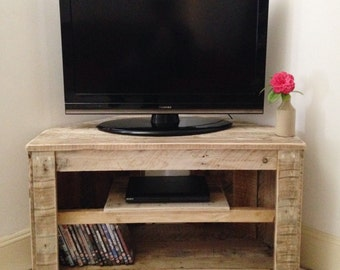 handmade rustic corner tabletv stand with shelf reclaimed and recycled wood
