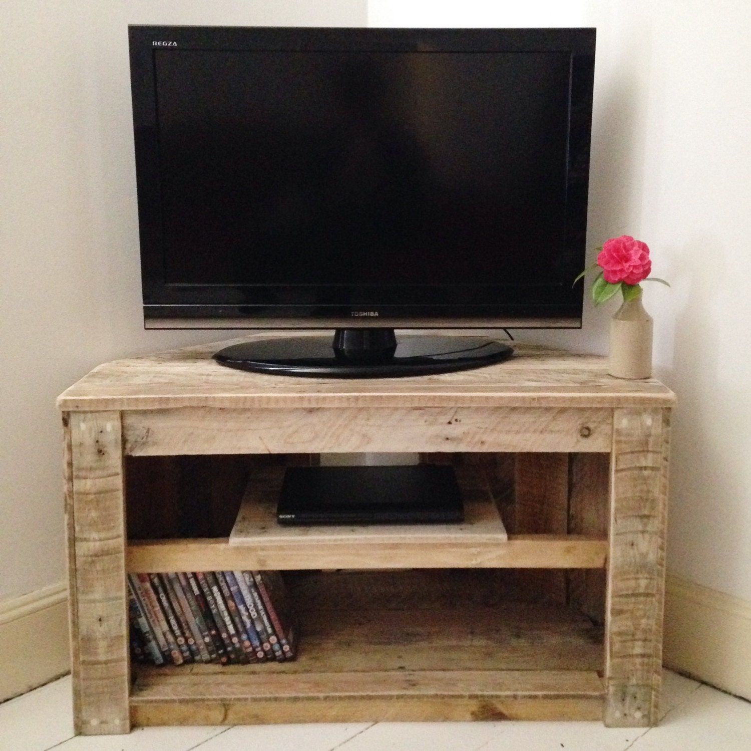 handmade rustic corner table tv stand with shelf reclaimed. Black Bedroom Furniture Sets. Home Design Ideas