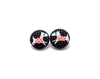 Scottie dog fabric covered button earrings, dog fabric button earrings, dog earrings, dog posts, scottie dog earrings, Scottish terriers