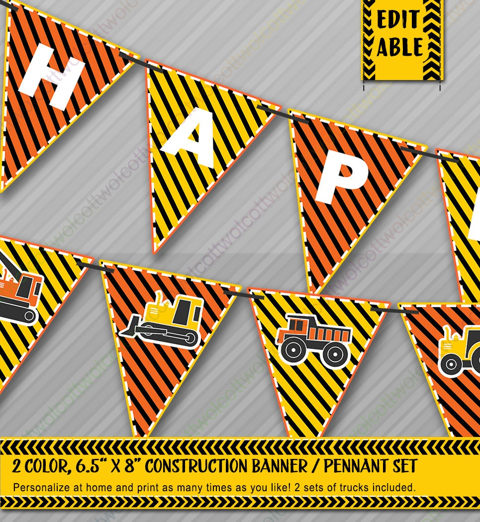 Construction Party Banners / Pennants Construction Banner