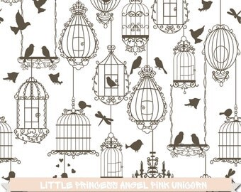 Birds and Birdcages Digital Clipart
