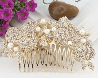 Bridal Flower Hair Comb - Gold Pearl and crystal Flower  -  Bridal Flower Bouquette Hair Comb  - Clear Austrian Crystal Hair Comb
