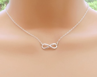 Silver Infinity Necklace, Simple Everyday Necklace, Sterling Silver Infinity Symbol, Figure Eight Necklace