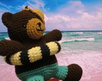 Amigurumi crochet stuffed summer swiming bear w/ float