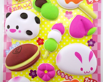 SUPER PUFFY Japanese mochi sweets 3D stickers - kawaii emoticon faces - dango balls - chubby panda and bunny - Taiyaki koi fish pastry treat