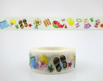 Beautiful summertime Chinese washi tape - sandals - watermelon - skirts - shorts - fans - butterflies - decortative paper masking tape 10m