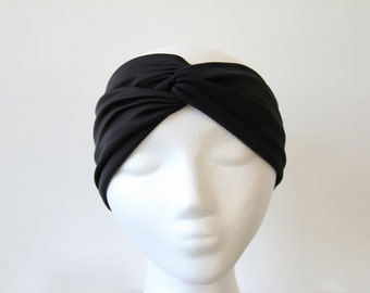 Black Turban Headband,Black Turban, Turban Head Wrap, Turban,Yoga Headband, Hair Band,Head Wrap,Boho Headband,Turbans,Twist Headband, Black