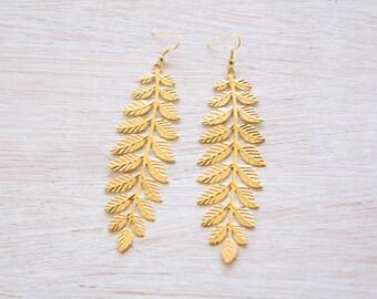 Gold Laurel Leaf Earrings, Gold Leaf Earrings, Leaf Earrings, Grecian Earrings, Laurel Leaf, Earrings, Boho Earrings, Greek Jewelry, Leaves