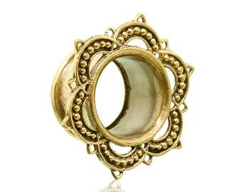 "Brass lotus ear tunnel 4m-18mm 6g 2g 0g 00g 000g 9/16"" 5/8"" 11/16"". ear tunnels. ear plugs. lotus plugs. gauges. ear gauges. lotus. p1"