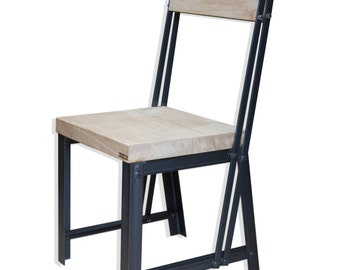 KONK! INDUSTRIAL Style Oak/Steel Dining Chair