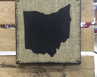 Burlap Ohio Hanging Sign