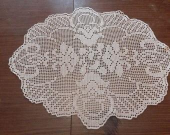 Oval Crochet Tablecloth   Crochet Doily   Oval Tablecloth   Oval Crochet  Doily   Pink Crochet