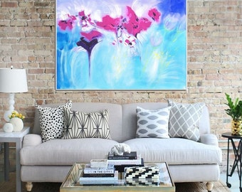 GICLEE PRINT, Abstract Print of Original Acrylic Painting, Modern Art, Abstract Art Print, Pink Blue Abstract - Gifted 2