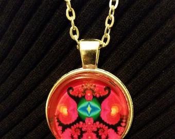 Red Eye Fractal Necklace