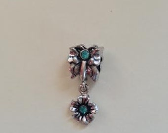 Blue-Zirconias- Flower Dangle-European Charms Style