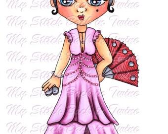 Digital stamp colouring image - Senorita Charlee . jpeg / png